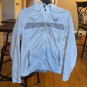 Northface white rain jacket